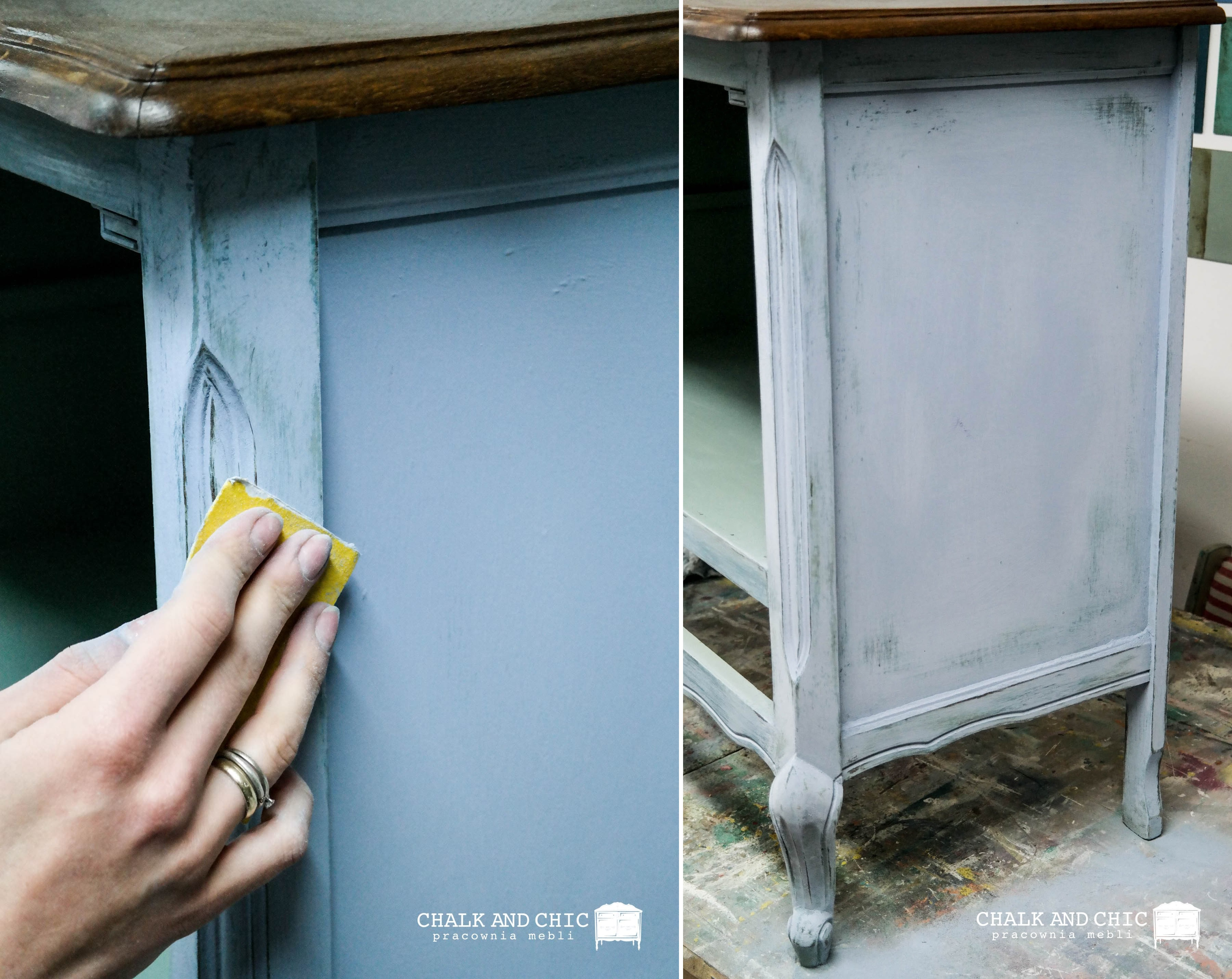 przetarcia na meblu malowane farbami chalk paint annie sloan Louis Blue