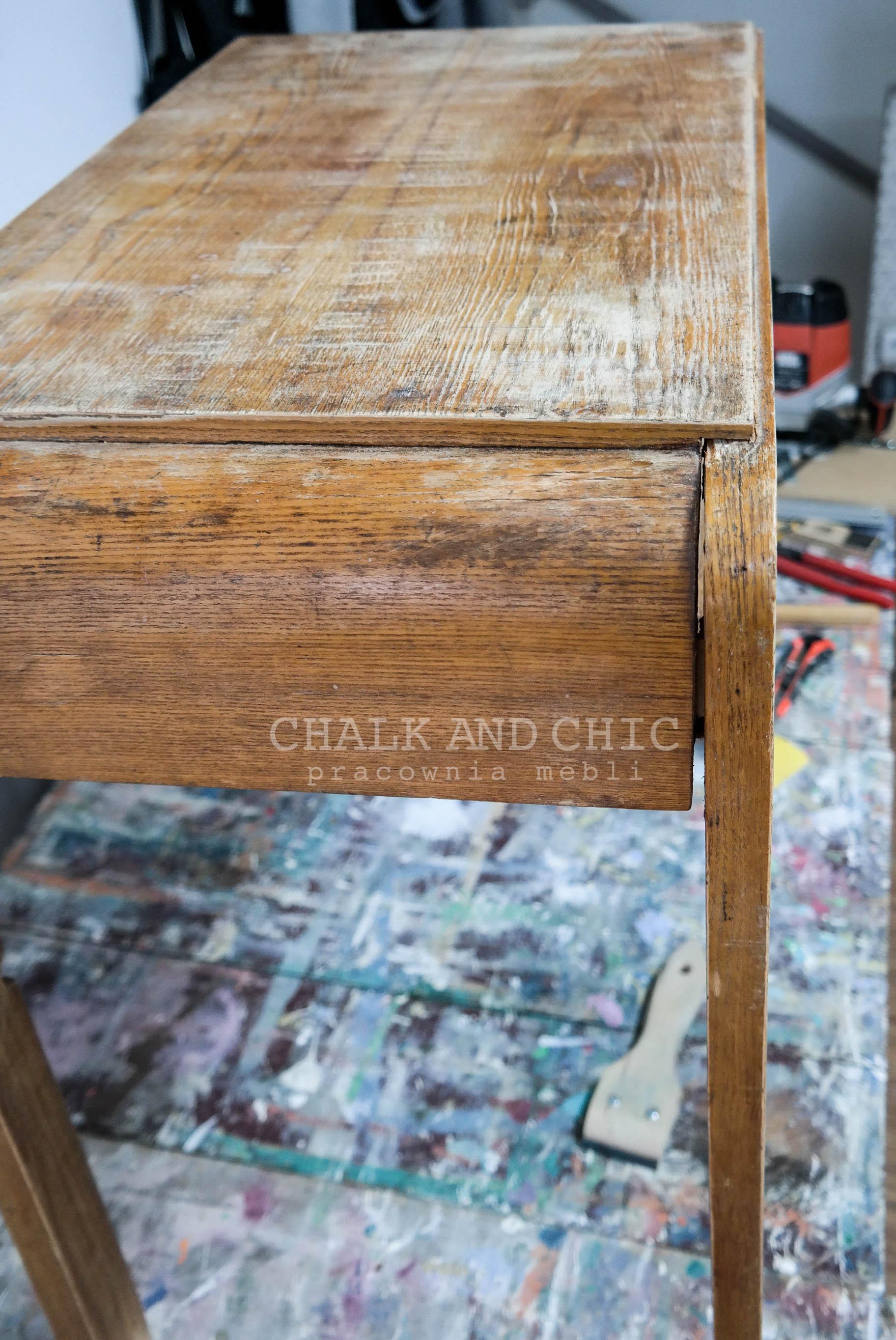 stary stolik prl metamorfoza