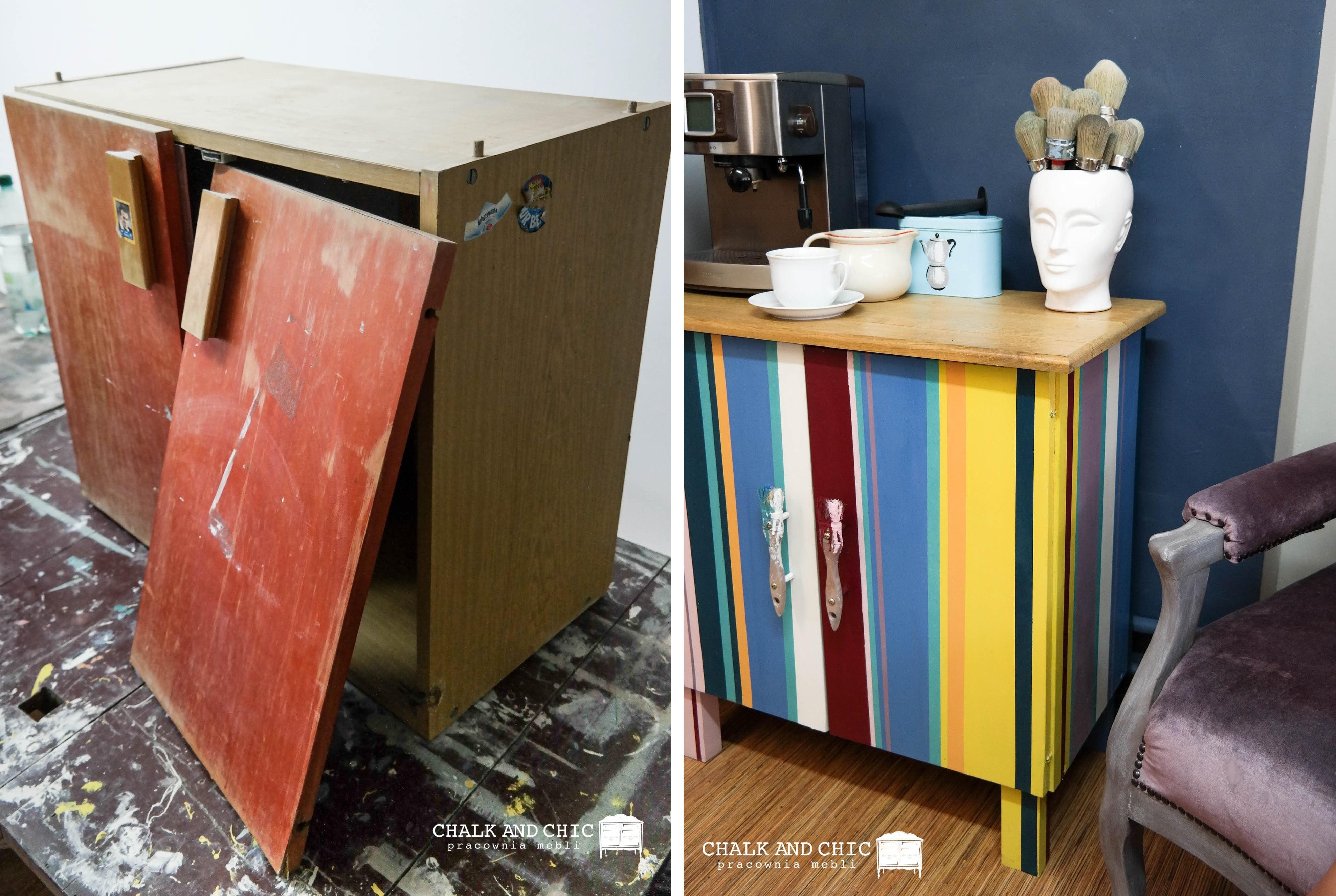 Jak odnowić starą szafkę? Metamorfoza Szafki w paski farbami kredowymi Chalk Paint Annie Sloan