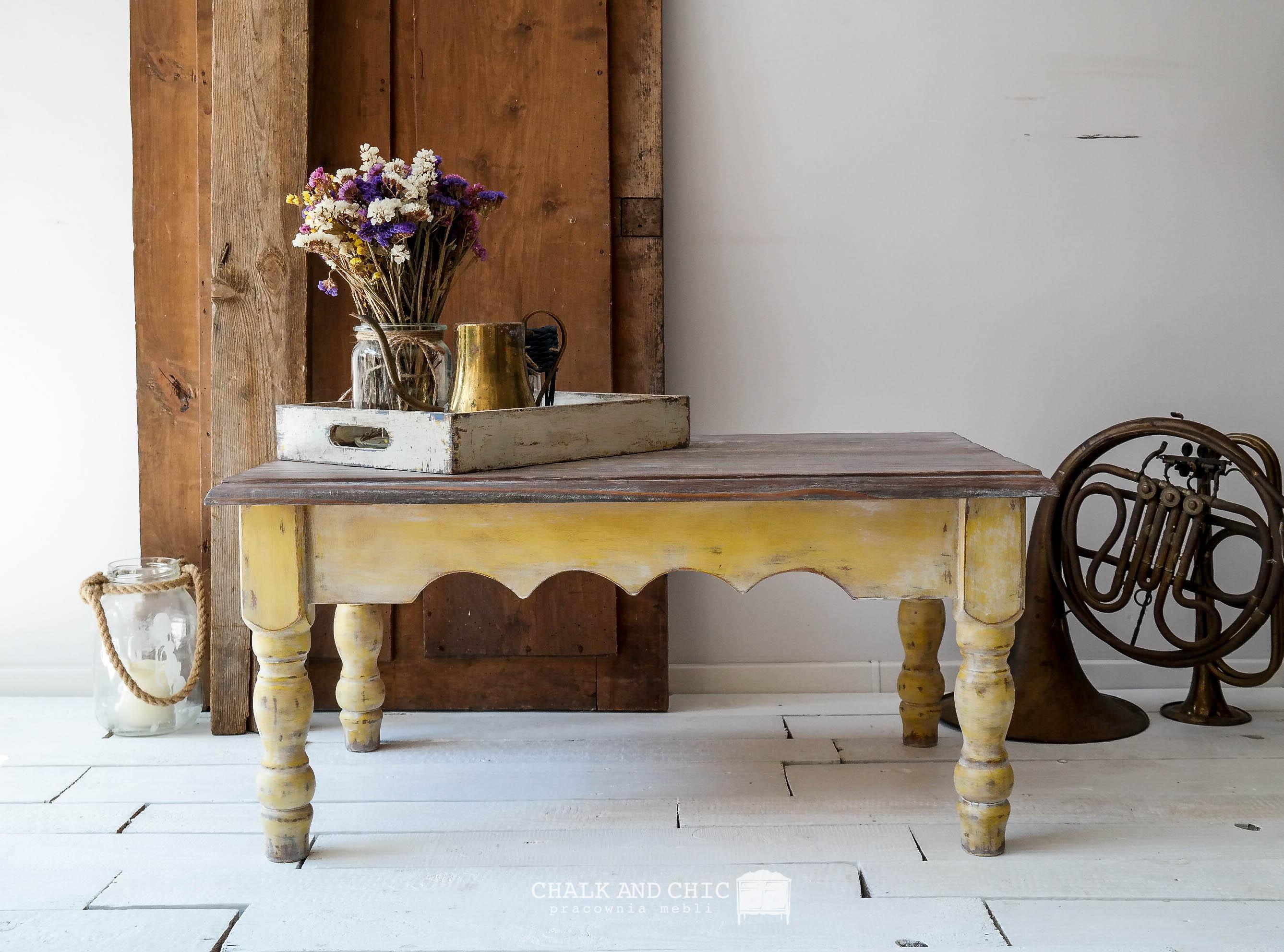 metamorfoza ławy/stolika kawowego w stylu rustykalnym