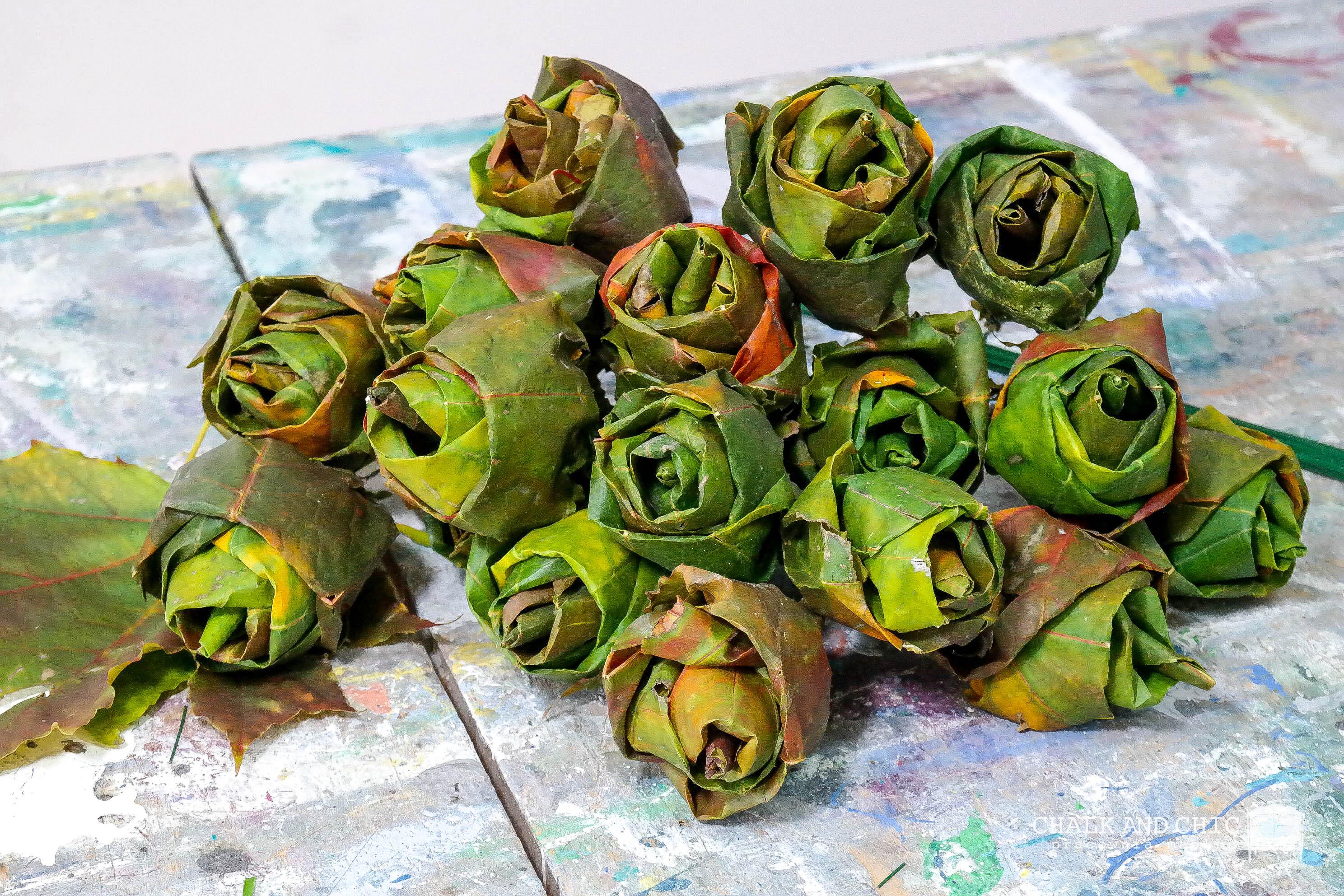 Róże z liści klonu DIY