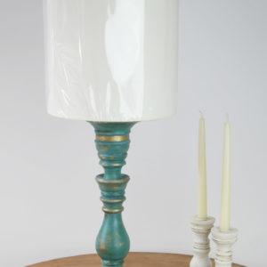 Lampka turkusowa pozłacana szlagmetalem
