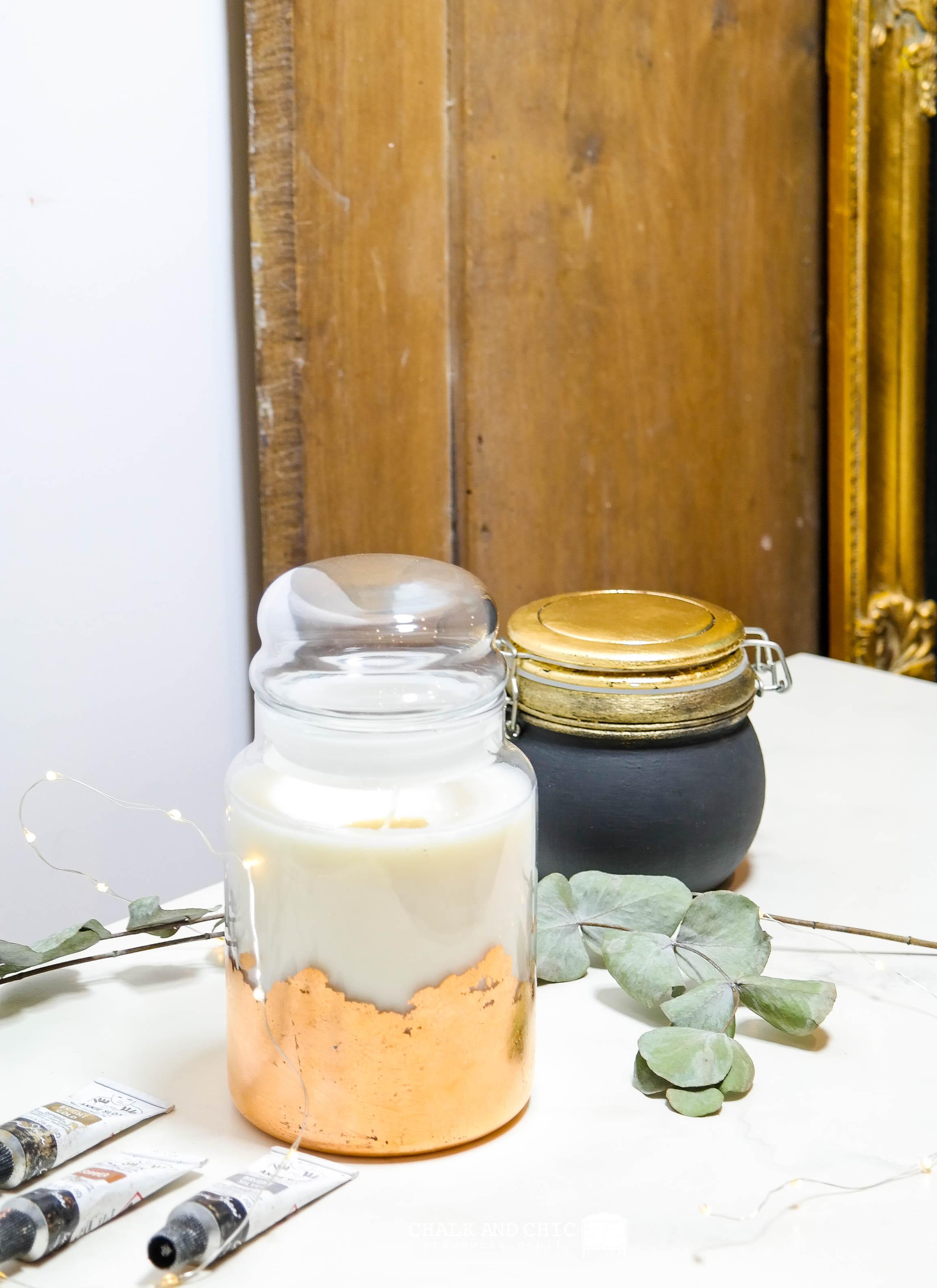 miedziana świeczka w słoiku