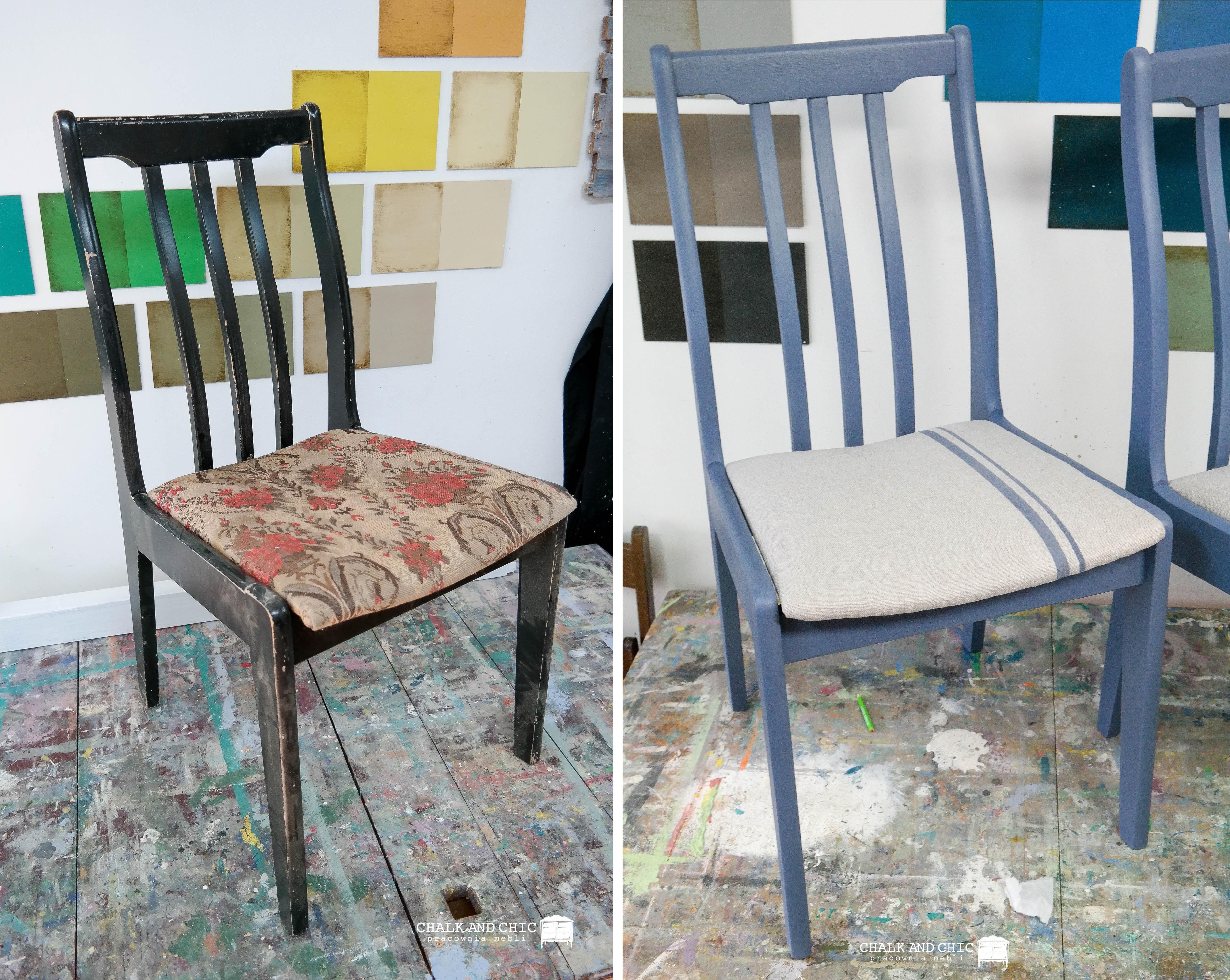 prosta metamorfoza krzesła Przed i Po