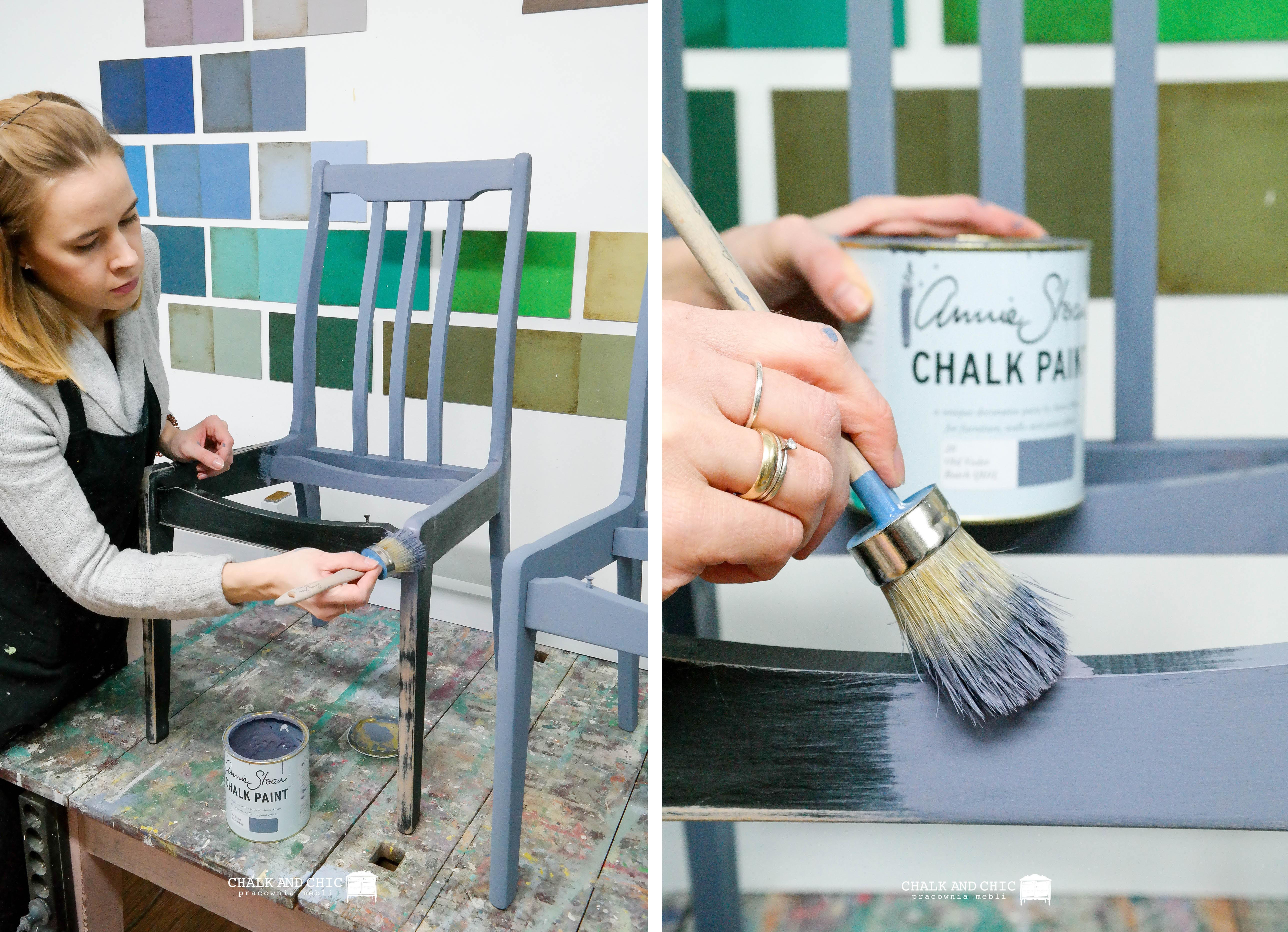 malowanie krzesła farbami Annie Sloan Chalk Paintt