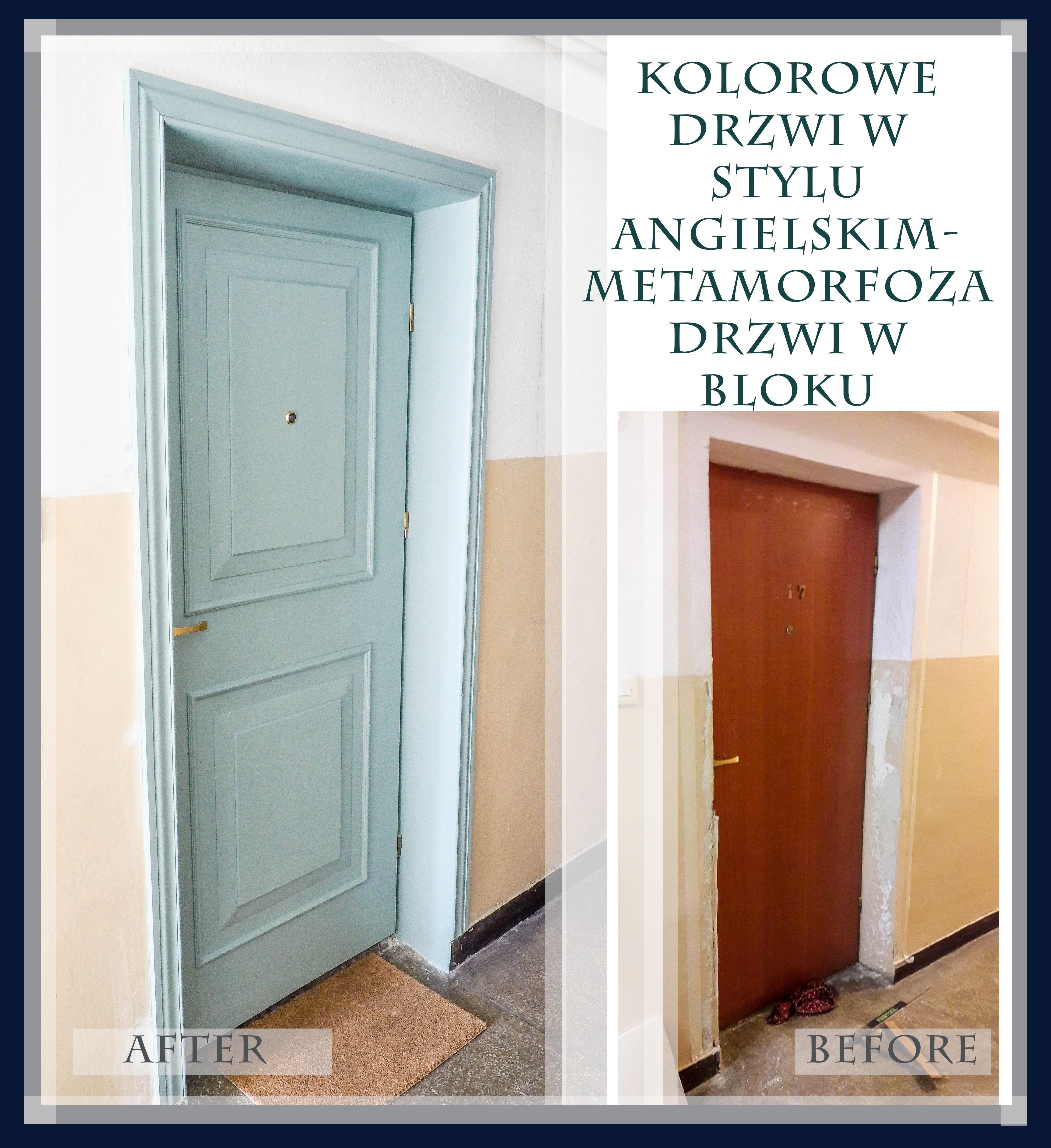 kolorowe drzwi w stylu angielskim DIY